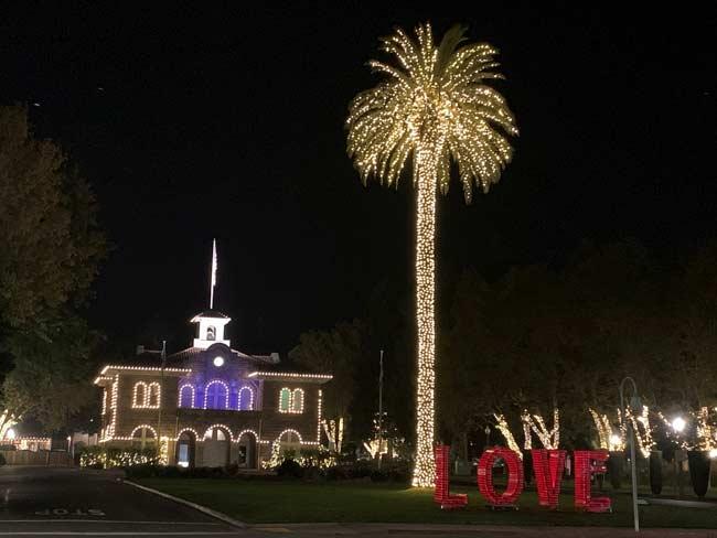 LOVE sign at night in Sonoma Plaza Park